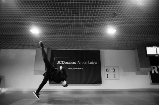 Cody in airport, Riga, Latvia #1
